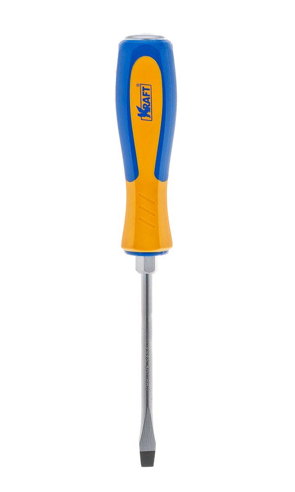 Отвертка усиленная шлицевая Kraft 6х100 КТ 700432КТ 700432- отвертка усиленная под ключ шлицевая 6x100 mm (рукоятка двухкомпонентная, намагниченный наконечник, Cr-V)