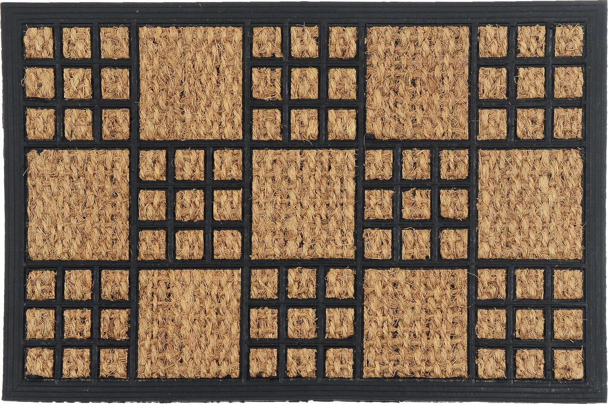 Коврик придверный SunStep Шашки, 60 х 40 см10503Оригинальный придверный коврик SunStep Шашки надежно защитит помещение от уличной пыли и грязи. Он изготовлен из жесткого кокосового волокна и нескользящей резиновой основы. Волокна кокоса не подвержены гниению и не темнеют, поэтому коврик сохранит привлекательный внешний вид на долгое время.