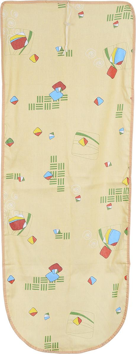 Чехол для гладильной доски Detalle, цвет: желтый, красный, зеленый, 125 х 47 смЕ1301_желтый,мультиколорЧехол для гладильной доски Detalle, выполненный из хлопка с подкладкой из мягкого войлокообразного полотна (ПЭФ), предназначен для защиты или замены изношенного покрытия гладильной доски. Чехол снабжен стягивающим шнуром, при помощи которого вы легко отрегулируете оптимальное натяжение чехла и зафиксируете его на рабочей поверхности гладильной доски. Из войлокообразного полотна вы можете вырезать подкладку любого размера, подходящую именно для вашей доски. Этот качественный чехол обеспечит вам легкое глажение. Он предотвратит образование блеска и отпечатков металлической сетки гладильной доски на одежде. Войлокообразное полотно практично и долговечно в использовании. Размер чехла: 125 x 47 см. Максимальный размер доски: 120 х 42 см. Размер войлочного полотна: 132 х 53 см.