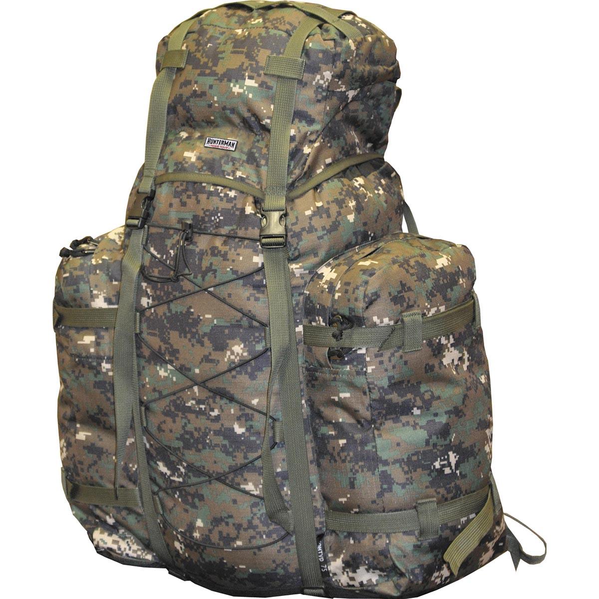 Рюкзак для охоты HUNTERMAN nova tour Контур 75 V3 км, цвет: диджитал зеленый, 100л95817-608-00Легкий, компактный рюкзак для охоты и рыбалки. Находка для любителей активного отдыха на природе! Стильный, вместительный, удобный в эксплуатации! Надежный помощник при переноске необходимого снаряжения для рыбной ловли и охоты. Вертикальная смягчающая вставка добавляет жесткости спинке рюкзака, в плавающем клапане карман для мелочей, съемная поясная стропа.; Ткань Poly Oxford 300D Ripstop Вес (кг) 1,1 Объем (л) 75 Высота-ширина-глубина, см