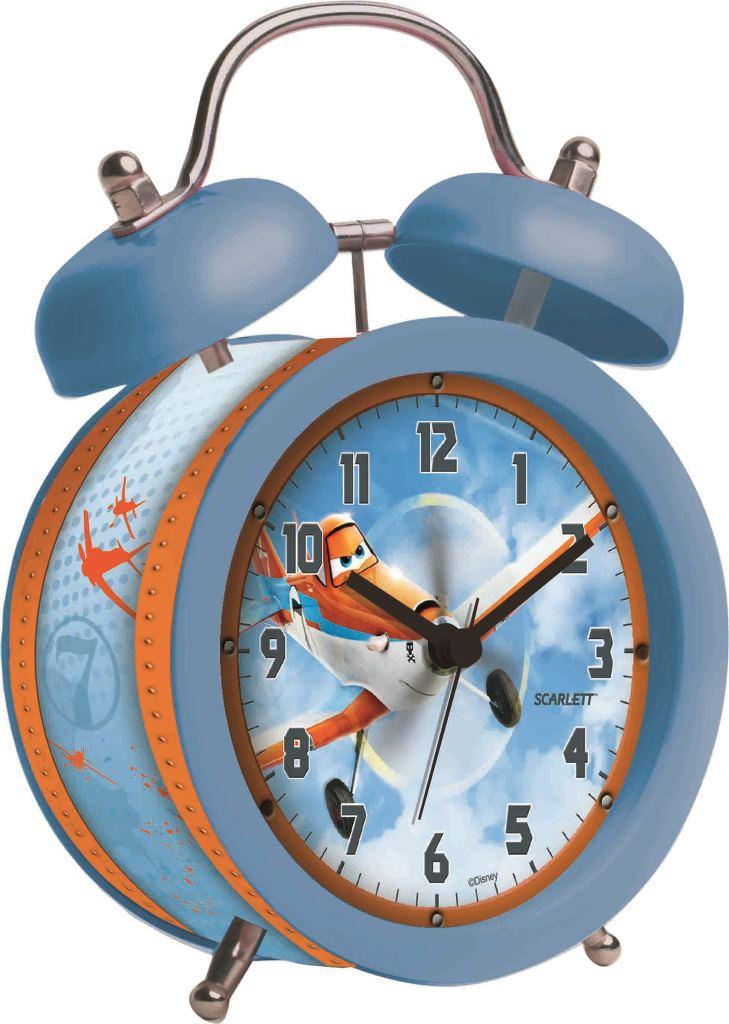Будильник Scarlett. SC - ACD05PLSC - ACD05PLБудильник Scarlett с надежным кварцевым механизмом - это не только функциональное устройство, но и оригинальный элемент декора, который великолепно впишется в интерьер детской комнаты. Он снабжен четырьмя стрелками: часовой, минутной, секундной и стрелкой завода. Циферблат оформлен изображением Дасти из мультфильма Самолеты. Сверху будильника располагается механический звонок, работает до его отключения. Сигнал будильника электронный, работает до его отключения. Отличительной особенностью этого будильника является то, что он обладает плавным, бесшумным ходом. Будильник работает от 1 батарейки типа АА напряжением 1,5 В (батарейка в комплект не входит). Будильник Scarlett - это надежность, качество и изящность стиля во все времена.
