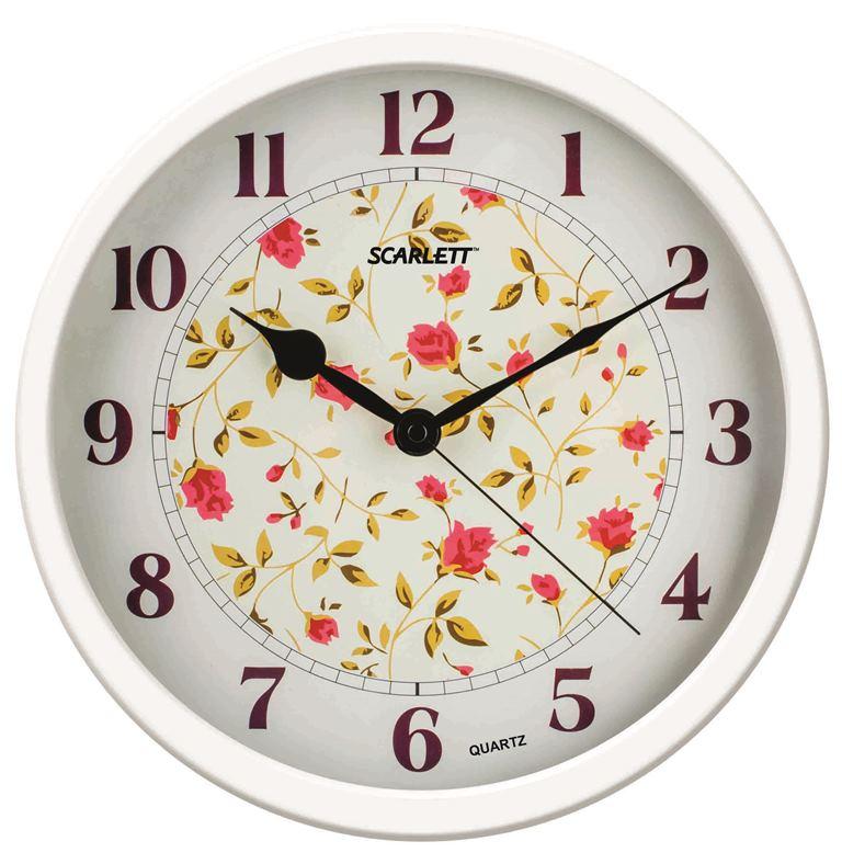 Часы настенные Scarlett, диаметр 31,5 см. SC - WC1002ISC - WC1002IНастенные кварцевые часы Scarlett, изготовленные из пластика, прекрасно впишутся в интерьер вашего дома. Круглые часы имеют три стрелки: часовую, минутную и секундную, циферблат защищен прозрачным пластиком. Часы работают от 1 батарейки типа АА напряжением 1,5 В (батарейка в комплект не входит). Диаметр часов: 31,5 см.