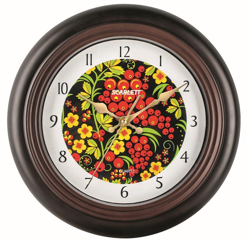 Часы настенные Scarlett, диаметр 30,5 см. SC - 25M94672Настенные кварцевые часы Scarlett в классическом дизайне, изготовленные из пластика, прекрасно впишутся в интерьер вашего дома. Круглые часы имеют три стрелки: часовую, минутную и секундную, циферблат защищен прозрачным пластиком. Часы работают от 1 батарейки типа АА напряжением 1,5 В (батарейка в комплект не входит). Диаметр часов: 30,5 см.