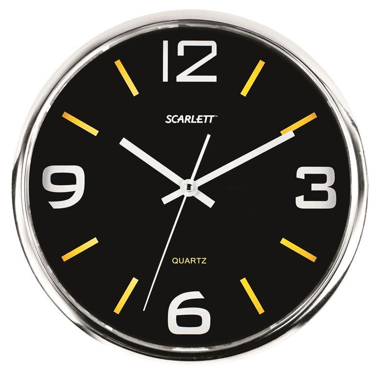 Часы настенные Scarlett, диаметр 30 см. SC - WC1009OSC - WC1009OНастенные кварцевые часы Scarlett в классическом дизайне, изготовленные из пластика, прекрасно впишутся в интерьер вашего дома. Круглые часы имеют три стрелки: часовую, минутную и секундную, циферблат защищен прозрачным пластиком. Часы работают от 1 батарейки типа АА напряжением 1,5 В (батарейка в комплект не входит). Диаметр часов: 30 см.