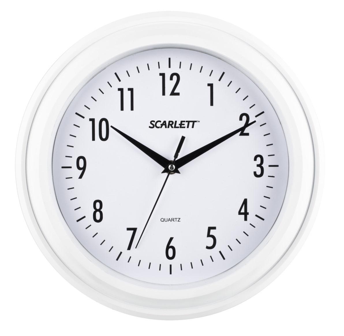 Часы настенные Scarlett, цвет: белый, диаметр 30,5 смSC - 55QGНастенные кварцевые часы Scarlett в классическом дизайне, изготовленные из пластика, прекрасно впишутся в интерьер вашего дома. Круглые часы имеют три стрелки: часовую, минутную и секундную, циферблат защищен прозрачным пластиком. Часы работают от 1 батарейки типа АА напряжением 1,5 В (батарейка в комплект не входит). Диаметр часов: 30,5 см.