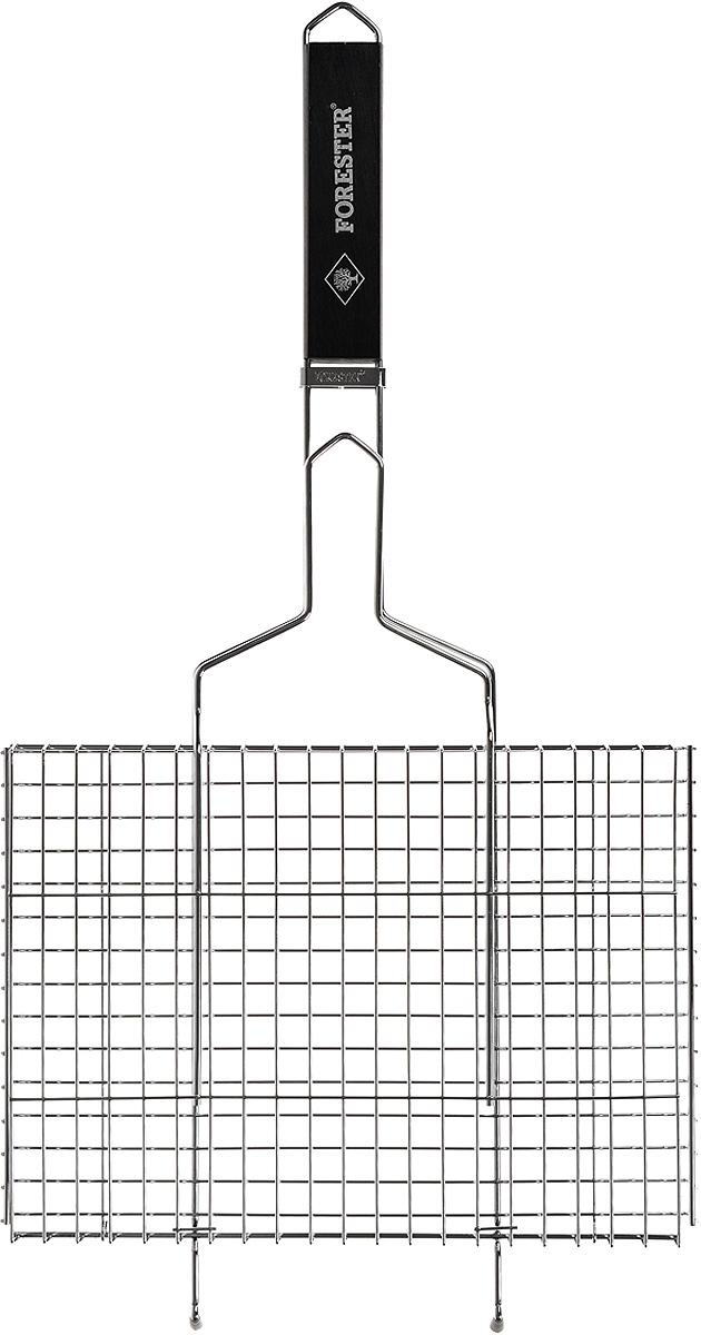 Решетка-гриль Forester, цвет: черный, 26 х 35 смBQ-N01_черная ручкаУниверсальная решетка-гриль Forester изготовлена из высококачественной стали с противокоррозионным покрытием. На решетке удобно размещать стейки, ребрышки, гамбургеры, сосиски, рыбу, овощи. Изделие предназначено для приготовления пищи на мангале, барбекю. Блюда получаются сочными, ароматными, с аппетитной специфической корочкой. Рукоятка изделия оснащена деревянной вставкой и фиксирующей скобой, которая зажимает створки решетки. Изогнутые усики-фиксаторы обеспечивают устойчивое положение на мангале. В комплекте с изделием рецепт цыпленка под ореховым соусом. Размер рабочей поверхности решетки (без учета усиков): 26 х 35 см. Общая длина решетки (с ручкой): 70 см.