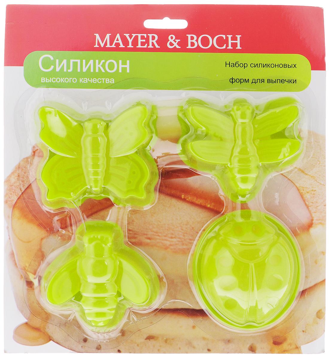 Набор форм для выпечки Mayer & Boch, цвет: салатовый, 4 шт94672Формы для выпечки Mayer & Boch, изготовленные из высококачественного силикона,выдерживающего температуру от -40°C до +210°C. В комплекте 4 формы,выполненные в виде насекомых. Если вы любите побаловать своих домашних вкусным и ароматным угощением повашему оригинальному рецепту, то формы Mayer & Boch как раз то, что вам нужно!Можно использовать в духовом шкафу и микроволновой печи без использованиярежима гриль.Подходит для морозильной камеры и мытья в посудомоечной машине.Размеры формы: 7 х 7 х 3 см.