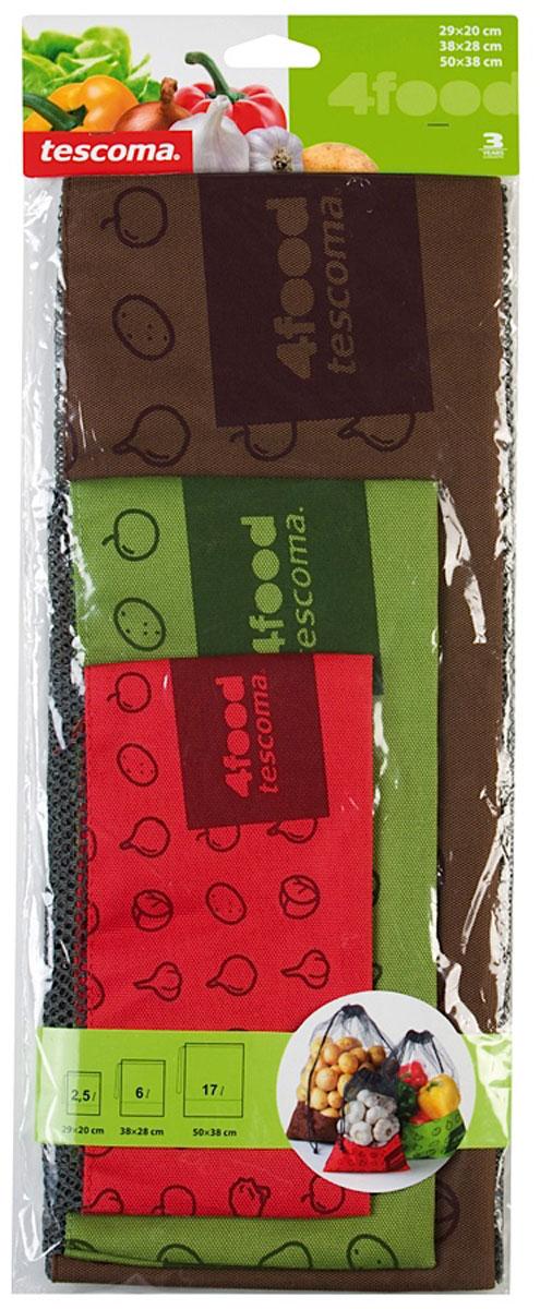 Набор сеток для пищевых продуктов Tescoma, 3 шт897190Набор Tescoma состоит из трех сеток разного размера. Отлично подходит для хранения продуктов питания, фруктов, овощей, орехов и многого другого в холодильнике или кладовке. Изделия выполнены из непромокаемой сетки, имеют непромокаемое дно и стяжку. Мыть под проточной водой с небольшим количеством моющего средства. Протереть сухой тряпкой сразу после очистки. Размер сеток: 29 х 20 см; 38 х 28 см; 50 х 38 см.