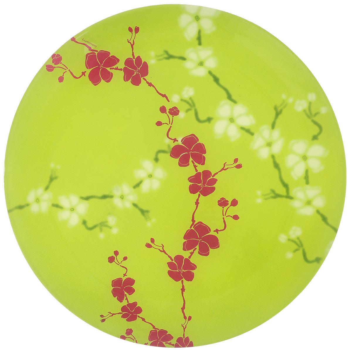 Тарелка обеденная Luminarc Kashima Green, диаметр 25 см115510Обеденная тарелка Luminarc Kashima Green изготовлена из высококачественного ударопрочного стекла. Тарелка декорирована красочным контрастным цветочным рисунком. Яркий дизайн придется по вкусу и ценителям классики, и тем, кто предпочитает утонченность. Такая тарелка прекрасно подходит как для торжественных случаев, так и для повседневного использования. Предназначена для подачи вторых блюд. Можно использовать в СВЧ и мыть в посудомоечной машине.Диаметр тарелки: 25 см.Высота тарелки: 2 см.