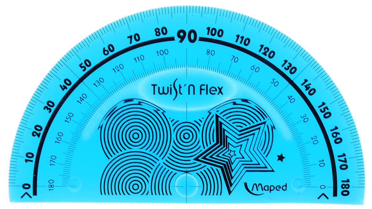Транспортир Maped Twist-n-flex неломающийся 10 см цвет морская волна2798107_морская волнаГибкий неломающийся транспортир Maped - это не только необходимый в учебе предмет, но и легкий способ привлечь ребенка к процессу обучения. Выполнен из прозрачного цветного пластика с ровной четкой миллиметровой шкалой делений.