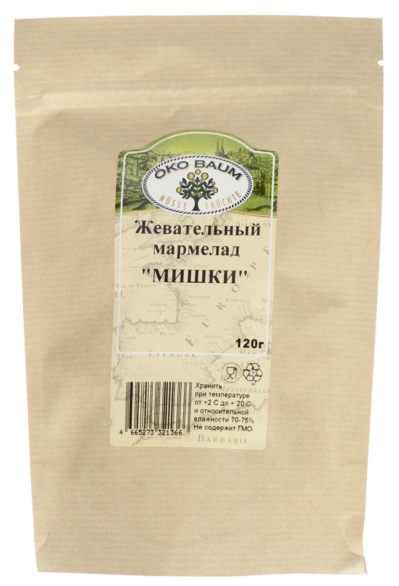Oko Baum Мишки жевательный мармелад, 120 г0120710Имеющий тысячелетнюю историю, мармелад и сейчас остается излюбленным лакомством для многих.Жевательный мармелад, для желирования которого используется желатин, действительно полезен. Но в составжевательного мармелада входит сахар, поэтому увлекаться чрезмерным употреблением не стоит. Соблюдая этопростое правило и употребляя его после еды в небольших количествах, можно насладиться не только вкусным, нои полезным лакомством. Пищевая ценность в 100 г продукта: Белки - 5,4 г. Жиры - 56,4 г. Углеводы - 76,7 г.