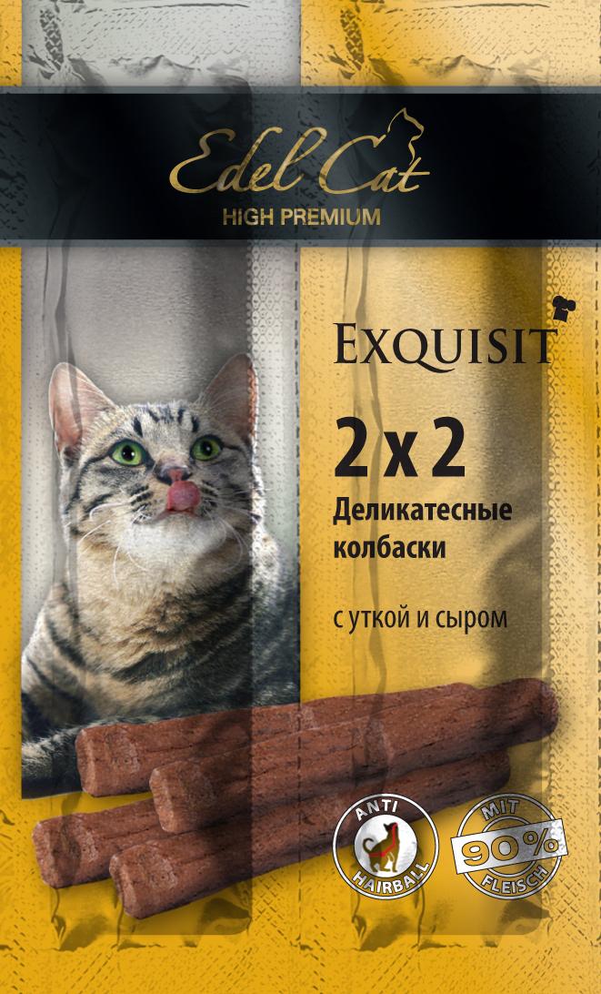 Edel Cat Колбаски-мини - утка сыр 4 колбаски1001874Вкусные жевательные колбаски для кошек. На 90%состоят из свежего мяса с добавлением витаминно -минерального комплекса. Минеральные вещества: Сырой протеин 33,5%, влажность 28%, сырой жир 20%, Сырая зола 9%, сырая клетчатка2% Состав: Мясо и мясопродукты (90% в т.ч. 4% утки), молоко и молочные продукты (4% сыра),минеральные вещества.