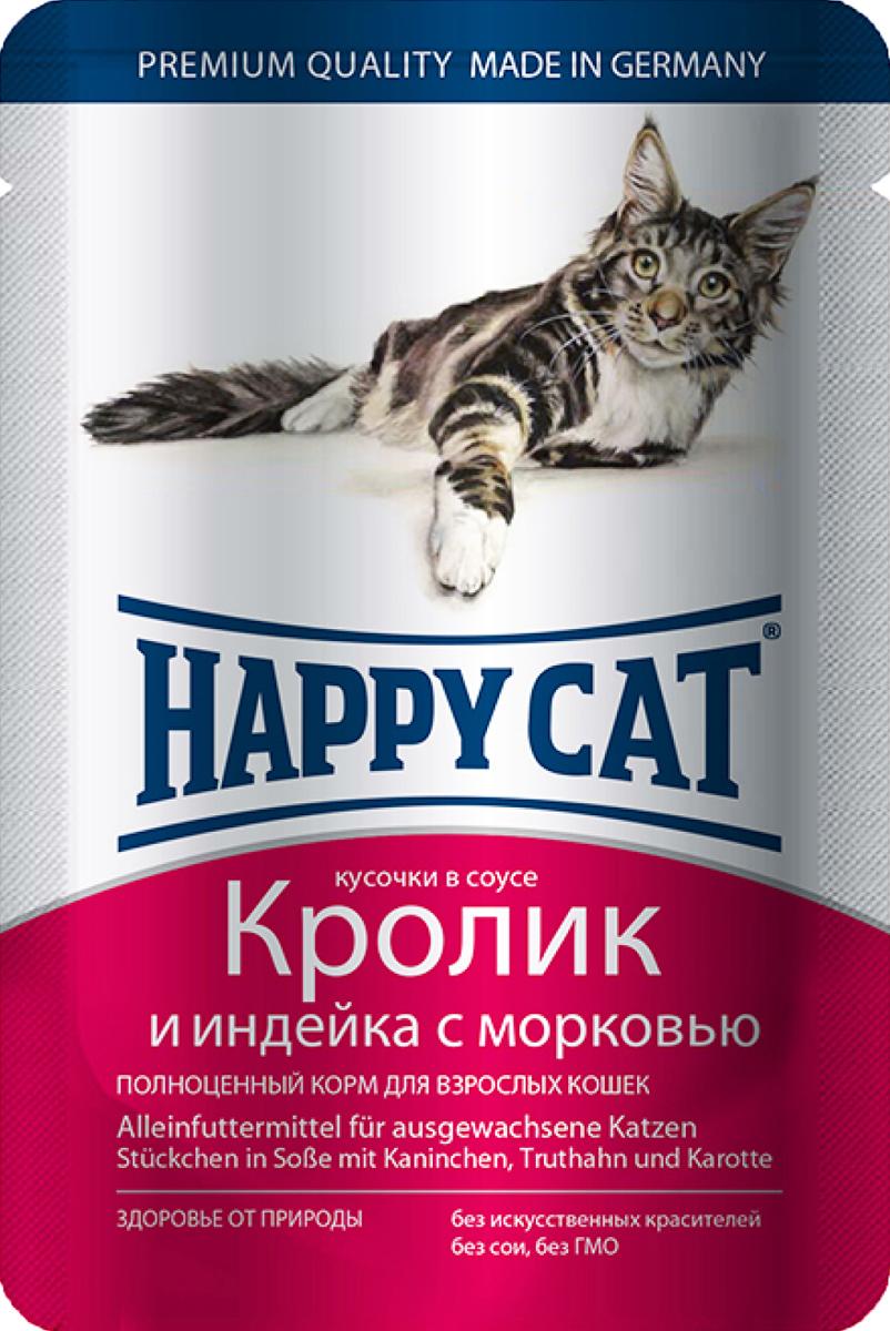 Консервы для кошек Happy Cat, кролик и индейка с морковью, 100 г1002316Консервы Happy Cat - это полноценный корм для кошек. Нежные кусочки из натуральных ингредиентов в ароматном желе прекрасно усваиваются и обладают хорошим вкусом, чтобы ваш котик с удовольствием съедал всю порцию без остатка. Консервы в желе для взрослых кошек приготовлены без добавления сои, искусственных красителей и ГМО. Корм содержит целый комплекс витаминов и минералов, а именно: витамины B, C, E, A, PP, цинк, калий, железо, натрий, кобальт и другие. Состав: мясо и мясопродукты (кролик 4%, индейка 4%), овощи (морковь 4%), злаки, минералы, инулин 0,1%. Пищевые добавки на кг: таурин 445 мг, витамин Д3 250 ме, витамин Е (альфа- токоферолацетат) 15 мг, медь (сульфат марганца 2, моногидрат) 1 мг, цинк 18 мг. Товар сертифицирован.