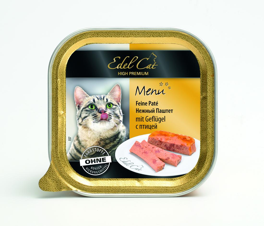 Edel Cat Нежный паштет с птицей, 100г17404Полнорационный консервированный корм для кошек. Изготовлен на основе мысопродуктов с добвлением витаминно - минерального комплекса. Минеральные вещества: влажность 82%, сырой протеин 8,5%, сырой жир 4,5% сырая зола 2,0%, сырая клетчатка 0,3%. витамин Д3 250 МЕ, цинк (сульфат цинка, моногидрат) 18мг, витамин Е (альфа – токоферолацетат) 15мг, медь (сульфат меди ||, пентагидрат) 1мг, марганец (сульфат марганца ||, моногидрат) 1 мг. Состав: мясо и мясопродукты (5% птица), злаки, минеральные вещества, инулин (0,1%).