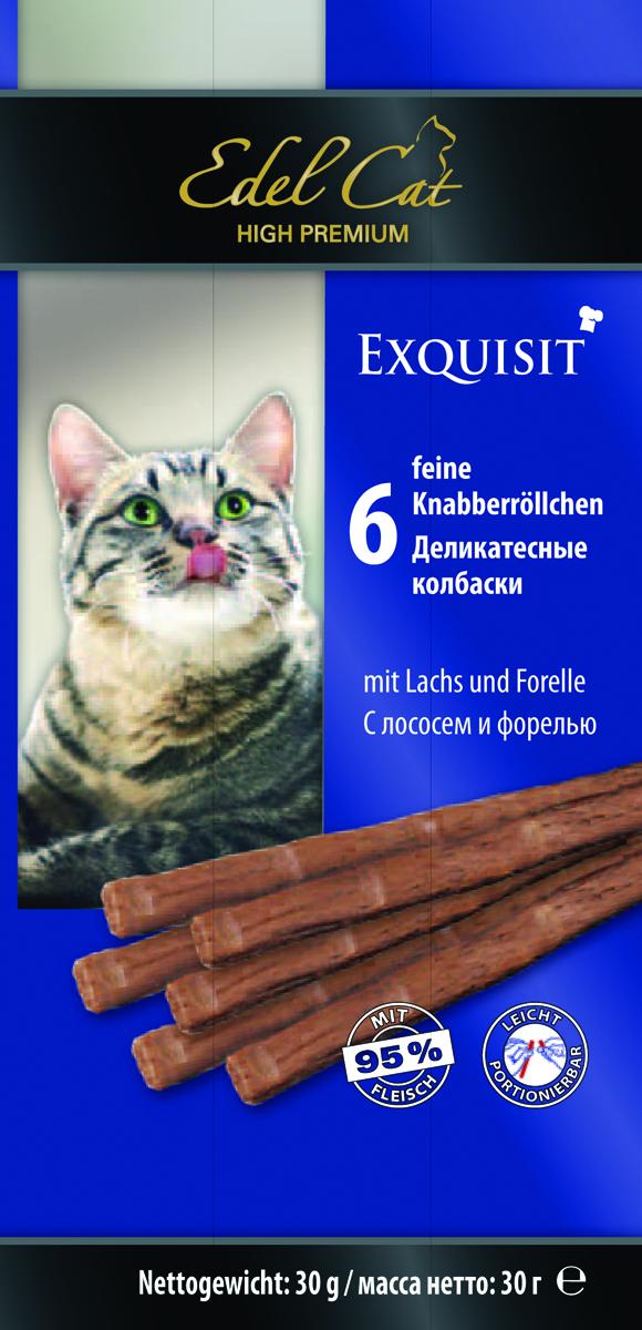 Edel Cat Колбаски - лосось форель 6 колбасок0120710Вкусные жевательные колбаски для кошек. На 95%состоят из свежего мяса с добавлением витаминно -минерального комплекса.Минеральные вещества: Сырой протеин 33,5%, влажность 28%, сырой жир 20%, Сырая зола 10%, сырая клетчатка2% Состав: Мясо и мясопродукты (95% в т.ч. 6% лосось, 6% форель), минеральные вещества