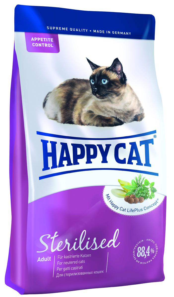 Happy Cat Adult Sterilised для кастрированный и стерилизованных кошек 1,8кг70080Кастрированные коты наиболее подвержены набору лишнего веса и заболеваниям мочеполовых путей. Поэтому им необходим полноценный, сбалансированный по белкам и жирам корм, богатый балластными веществами и оптимальным балансом минеральных веществ для поддержания здоровья мочевыделительной системы и естественной защиты организма. В корме Happy Cat Sterilised всего 10,5% жира, 37% ценного белка из мяса лосося и птицы, не создающего нагрузку на организм кота, а также большое количество таурина (1500 мг/кг). Минеральные вещества: Сырой протеин 32%, сырой жир 16%, сырая клетчатка 2.5%, сырая зола 6.5%, кальций 1.25%, фосфор 0.75%, натрий 0.45%, калия 0.45%, магний 0.08% Добавки: Витамин/кг: Витамин А 18000 МЕ, витамин D3 1800 МЕ, витамин Е 100 мг, витамин В1 5 мг, витамин В2 6 мг, витамин В6 4 мг, биотин 700 мкг, кальций D - пантотенат 12 мг, ниацин 45 мг, витамин В12 75 мкг, холинхлорид 75 мг, Микроэлементы/кг:железо 120 мг, медь 12 мг, цинк 150 мг, марганец 30 мг, йод 2.0 мг , селен...