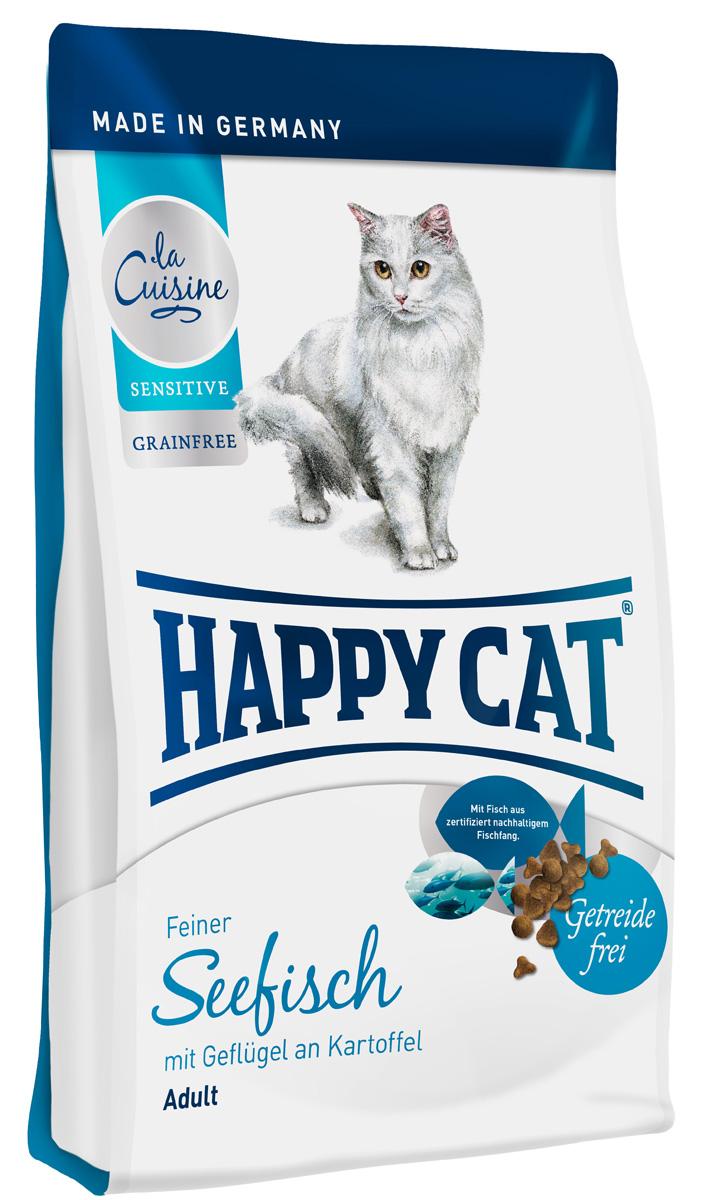 Корм сухой Happy Cat Sensitive Grainfree, морская рыба, птица и картофель, 1,8 кг70139Happy Cat Sensitive Grainfree - лакомый корм для гурманов, произведенный из эксклюзивного сырья. Превосходная морская рыба, вкусное мсясо птицы, картофель и сочный инжир с ценными балластными веществами обладают мягким воздействием и не содержит глютен. Рецептура с умеренным содержанием протеина и энергии не нагружает органы пищеварения и подходит животным, чувствительно реагирующих на состав корма. Минеральные вещества: сырой протеин 34%, сырой жир 18%, сырая клетчатка 2,5%, сырая зола 7,5%, кальций 1,4%, фосфор 0,95%, натрия 0,4%, магний 0,08%, Омега-6 жирные кислоты 3,5%, Омега-3 жирные кислоты 0,4.%. Состав: птица (29,5%), картофель (16%), картофельные хлопья (16%), картофельный белок (11%), птичий жир, морская рыба (7%), клетчатка, масло из семян подсолнечника, свекольная пульпа, инжир (0,5%), хлорид натрия, дрожжи, яблочная пульпа (0,4%), рапсовое масло, хлорид калия, морские во- доросли (0,2%), семя льна (0,2%), Юкка Шидигера...
