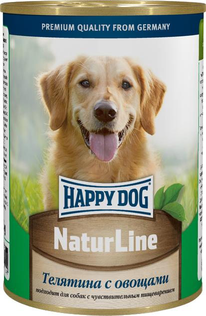 Консервы для собак Happy Dog Natur, с телятиной и овощами, 400 г0120710Консервы для собак Happy Dog Natur с телятиной и овощами обладают исключительным вкусом, не менее привлекательным для животного, чем 100% мясной рацион. К тому же наличие в составе овощей положительно скажется на состоянии иммунной системы и работе желудочно-кишечного тракта, поэтому такие консервы являются максимально полезным влажным рационом, который можно давать животному каждый день. Консервы для собак Happy Dog Natur с телятиной и овощами полностью соответствуют естественным потребностям взрослых собак вне зависимости от их принадлежности к породе. Это максимально натуральные консервы, для приготовления которых не использовалась соя, искусственные красители и консерванты. В основе консервов находится отборная телятина. Питательная ценность и полезность телятины для организма обусловлена ее богатым витаминно-минеральным составом и насыщенностью качественным протеином. Телятина хорошо усваивается и, благодаря наличию в мясе теленка экстрактивных веществ, способствует более сильному выделению желудочного сока, необходимого для переваривания пищи. Железо и медь необходимы для образования гемоглобина и повышения сопротивляемости организма бактериям. В том числе медь участвует в образовании коллагена и эластина, необходимых для повышения прочности и эластичности тканей. Фосфор и магний необходимы для формирования крепкого скелета. Цинк ускоряет процесс заживления ран и является эффективным средством лечения и профилактики дерматоза. Калий регулирует деятельность центральной нервной системы и отвечает за сокращаемость мышечной массы. Витамины B отвечают за протекающие в организме обменные процессы, а антиоксиданты препятствуют разрушению клеток свободными радикалами. Овощи содержат клетчатку, которая отсутствует в мясных ингредиентах, но необходима для нормальной работы пищеварительной системы и очищения организма от шлаков и токсинов.Состав: телятина, овощи, витаминно-минеральная комплекс, растит