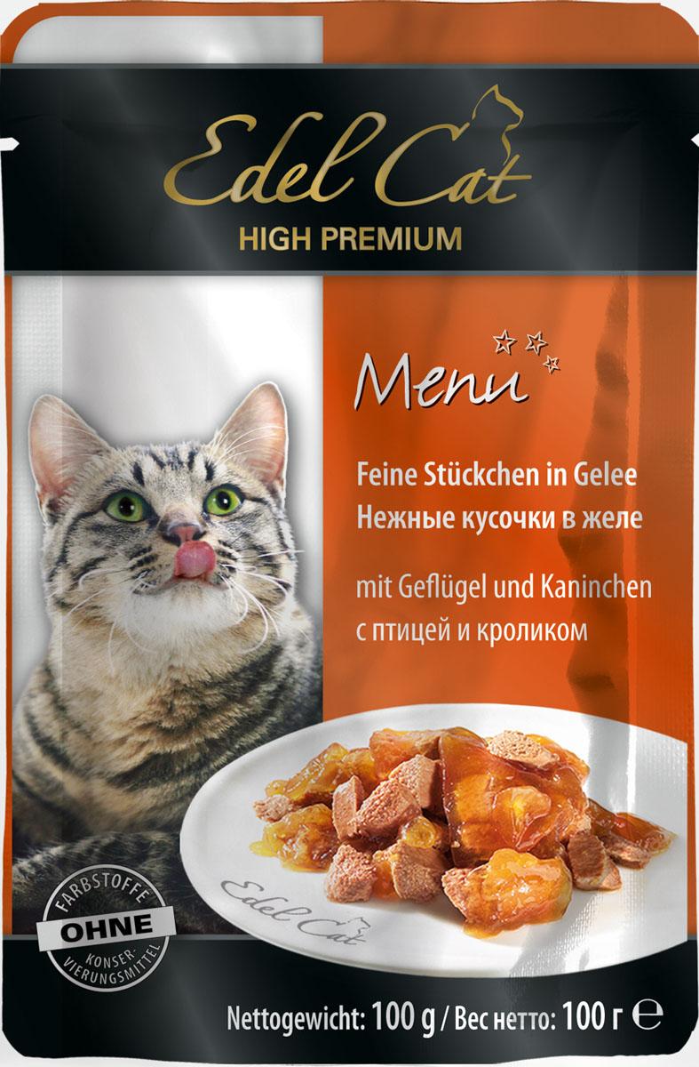 Edel Cat С птицей и кроликом нежные кусочки в желе 100г8107Полнорационный консервированный корм для кошек. Изготовлен на основе мысопродуктов с добвлением витаминно - минерального комплекса. Минеральные вещества: влажность 82%, сырой протеин 8,5%, сырой жир 4,5% сырая зола 2,0%, сырая клетчатка 0,3%, витамин Д3 250 МЕ, цинк (сульфат цинка, моногидрат) 18мг, витамин Е (альфа – токоферолацетат) 15мг, медь (сульфат меди ||, пентагидрат) 1мг, марганец (сульфат марганца ||, моногидрат) 1 мг. Состав: мясо и мясопродукты (5% птицы, 5% кролика), минеральные вещества, инулин (0,1%).