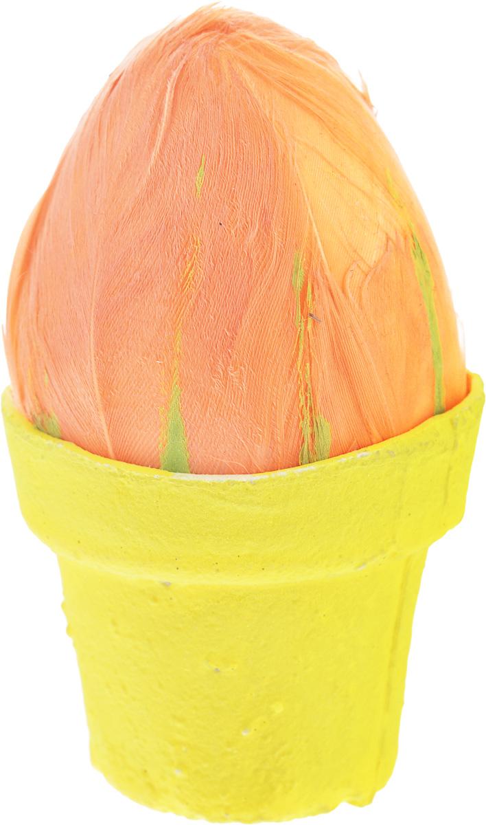 Декоративное украшение Home Queen Яйцо на подставке, цвет: оранжевый, желтый60833_оранжевый, желтыйДекоративное украшение Home Queen Яйцо на подставке выполнено из пенопласта и гипса в виде яйца на подставке и декорировано перьями. Такое украшение прекрасно оформит интерьер дома или станет замечательным подарком для друзей и близких на Пасху. Размер: 4 х 8 см.