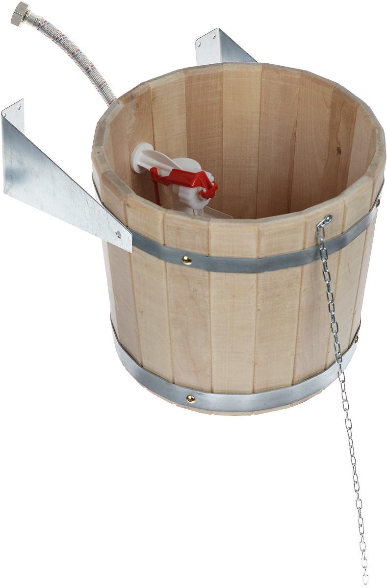 Устройство обливное Proffi Sauna, 10 лPS0085Обливное устройство Proffi Sauna состоит из деревянной емкости, двух кронштейнов и впускного клапана для воды. Обливное устройство изготовлено из деревянных шпунтованный клепок, склеенных между собой водостойким клеем и стянутых двумя обручами из металла. Внутри и снаружи устройство покрыто экологически безопасной мастикой на основе природного воска, который обеспечивает высокую степень защиты древесины от воздействия воды. Обливное устройство может монтироваться как к стенам, так и к потолку помещения. Обливное устройство предназначено для контрастного обливания после высоких температур парной в банях и саунах. Обливные устройства используются как внутри бани, так и снаружи. Рекомендуется периодически проверять прочность узловых соединений и надежность крепления к стене. Эксплуатация бондарных изделий. Перед первым использованием бондарное изделие рекомендуется подготовить. Для этого нужно наполнить изделие холодной водой и оставить наполненным...