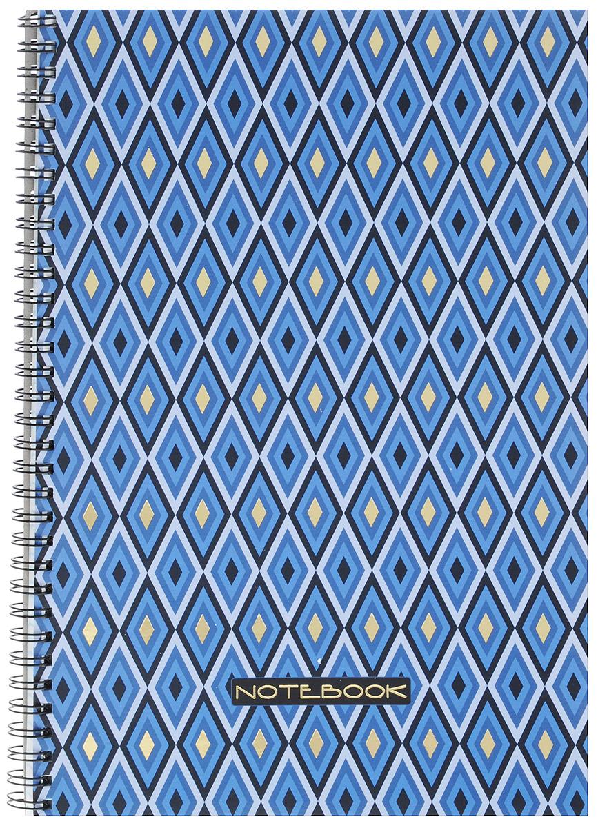 Listoff Тетрадь Геометрический орнамент 96 листов в клетку610842Тетрадь Listoff Геометрический орнамент подойдет как школьнику, так и студенту для конспектов.Обложка тетради выполнена из плотного картона и оформлена оригинальным изображением в виде принта. Внутренний блок состоит из 96 листов белой бумаги. Стандартная линовка в голубую клетку без полей. На такой бумаге вы можете использовать любой тип ручек, не боясь, что бумага промокнет. Листы тетради соединены металлическим гребнем.