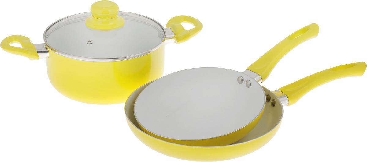 """Набор посуды """"Calve"""", с керамическим покрытием, цвет: желтый, 4 предмета CL-1922"""