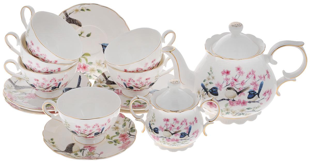 Набор чайный Elan Gallery Райские птички, 14 предметов420026Чайный набор Elan Gallery Райские птички состоит из 6 чашек, 6 блюдец, сахарницы и чайника. Сахарница и чайник оснащены крышками. Изделия, выполненные из высококачественной керамики, имеют элегантный дизайн и классическую форму. Такой набор прекрасно подойдет как для повседневного использования, так и для праздников. Чайный набор Elan Gallery Райские птички - это не только яркий и полезный подарок для родных и близких, но и великолепное дизайнерское решение для вашей кухни или столовой. Не использовать в микроволновой печи. Объем чашки: 220 мл. Диаметр чашки (по верхнему краю): 10 см. Высота чашки: 6,5 см. Диаметр блюдца (по верхнему краю): 15 см. Высота блюдца: 2 см. Объем сахарницы: 300 мл. Высота сахарницы (без учета крышки): 8 см. Диаметр сахарницы (по верхнему краю): 8 см. Ширина сахарницы (с учетом ручек): 14,5 см. Объем чайника: 1,1 л. Высота чайника (без учета крышки): 13 см. ...