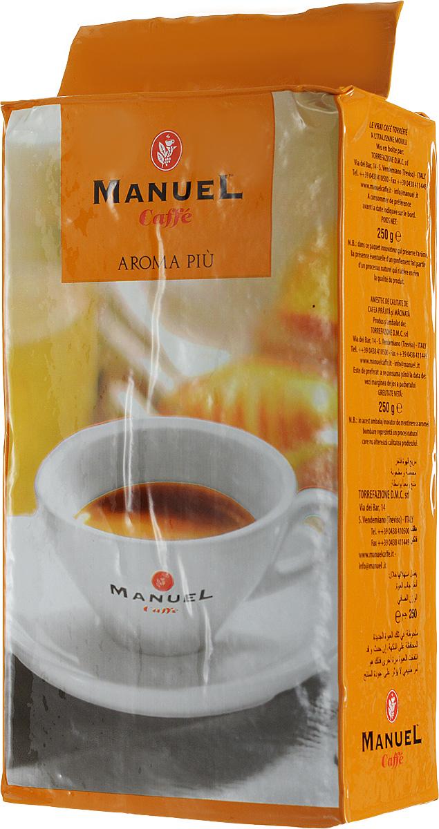 Manuel Aroma Piu кофе молотый, 250 г8006536000066Кофе Manuel Aroma Piu – изысканная смесь, выпускаемая итальянской компанией Manuel. В состав смеси входят 40 % отборной арабики и 60 % высококачественной робусты. Manuel Aroma Piu создан для любителей сбалансированного кофе. Не обладает ярко выраженными кислотностью и горечью, имеет высокую устойчивую пенку. Обладает плотным телом и устойчивым шоколадным послевкусием. Хорошо подходит для приготовления в автоматических кофемашинах и станет великолепным приобретением для заядлых кофеманов.
