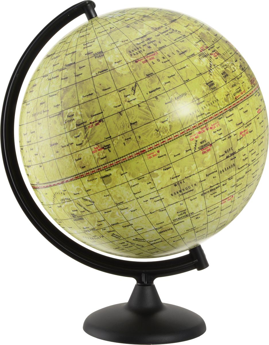 Глобусный мир Глобус Луны диаметр 32 см 1007910079Глобус Луны Глобусный мир изготовлен из высококачественного и прочного пластика. Данная модель предназначена для ознакомления с географией лунной поверхности. На глобусе указаны названия лунных морей, крупных и средних кратеров, возвышенностей, места посадки космических аппаратов. Такой глобус станет прекрасным подарком и учебным материалом для дальнейшего изучения астрономии. Изделие расположено на пластиковой подставке. Настольный глобус Луны Глобусный мир станет оригинальным украшением рабочего стола или вашего кабинета. Это изысканная вещь для стильного интерьера, которая станет прекрасным подарком для современного преуспевающего человека, следующего последним тенденциям моды и стремящегося к элегантности и комфорту в каждой детали. Масштаб: 1:40 000 000.