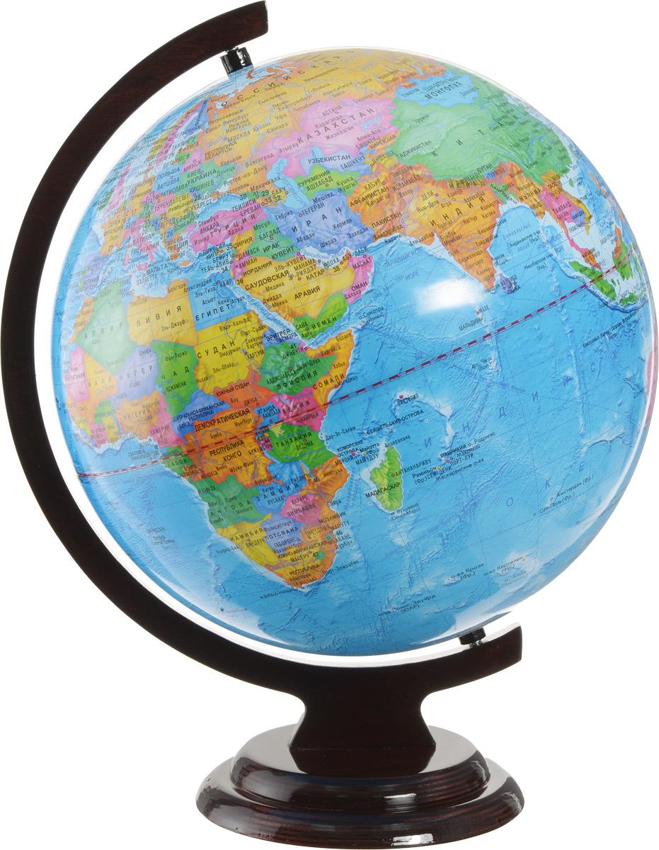Глобусный мир Глобус с политической картой мира диаметр 32 см10032Глобус с политической картой мира Глобусный мир, изготовленный из высококачественного прочного пластика, показывает страны мира, сухопутные и морские границы того или иного государства, расположение городов и населенных пунктов. На нем отображены картографические линии: параллели и меридианы, а также градусы и условные обозначения, центры владений, научные станции и судоходные каналы. Каждая страна обозначена своим цветом. Глобус с политической картой мира станет незаменимым атрибутом обучения не только школьника, но и студента. Названия стран на глобусе приведены на русском языке. Изделие расположено на деревянной подставке, что придает этой модели подарочный вид. Настольный глобус Глобусный мир станет оригинальным украшением рабочего стола или вашего кабинета. Это изысканная вещь для стильного интерьера, которая станет прекрасным подарком для современного преуспевающего человека, следующего последним тенденциям моды и стремящегося к элегантности...