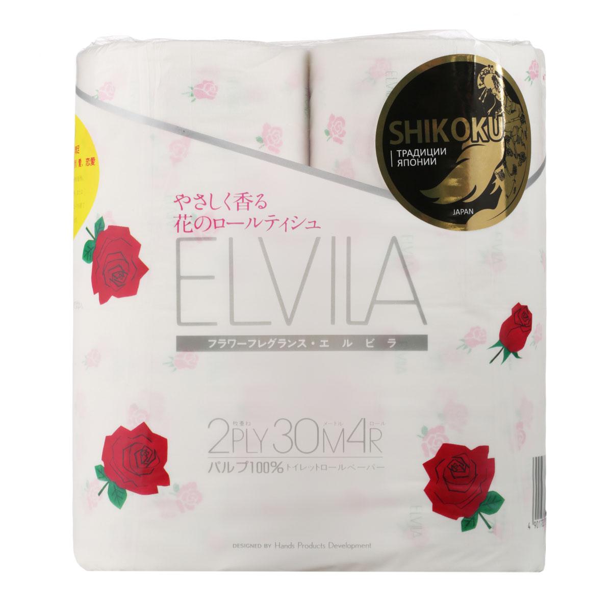 Парфюмированная туалетная бумага Shikoku Elvila, 2-х слойная, 4 рулона10076Туалетная бумага Shikoku серии «Elvila» представлена изысканным ароматом розы. По сравнению с синтетическим запахом обычной ароматизированной бумаги, ароматы Shikoku Tokushi – природные, изысканные и утонченные. / Также при производстве бумаги используется 100% целлюлоза, которая прошла тщательный отбор и особую обработку, а многолетний опыт сотрудников копании гарантирует высокое качество туалетной бумаги Shikoku Tokushi. / Туалетная бумага Серии «Elvila» мгновенно впитывает даже большое количество воды, поскольку между слоями бумаги есть воздушное пространство, что позволяет сократить объемы используемой бумаги на треть, а глубокие линии тиснения обеспечивают надежное соединение слоев и прочность бумаги. / Туалетная бумага Shikoku изготовлена из природных материалов и воды из источников Ниёдогава. / Состав: натуральная 100% целлюлоза. / Срок годности не ограничен.