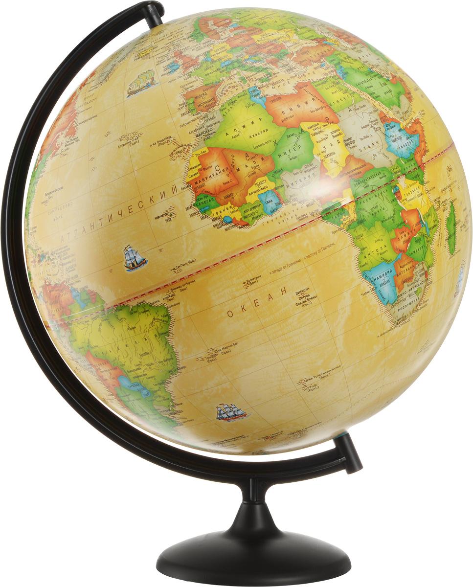 Глобусный мир Глобус с политической картой мира Ретро-Александр диаметр 42 см10326Глобус с политической картой мира Глобусный мир изготовлен из высококачественного прочного пластика. Данная модель выполнена в ретро стиле и показывает страны мира, границы того или иного государства, расположение городов и населенных пунктов. Изделие расположено на подставке и легко вращается вокруг своей оси. На глобусе отображены картографические линии: параллели, меридианы и градусы. Все страны мира раскрашены в разные цвета. Глобус с политической картой мира станет незаменимым атрибутом обучения не только школьника, но и студента. Названия стран на глобусе приведены на русском языке. Глобус с политической картой мира Ретро-Александр станет оригинальным украшением рабочего стола или вашего кабинета. Это изысканная вещь для стильного интерьера, которая будет прекрасным подарком для современного преуспевающего человека, следующего последним тенденциям моды и стремящегося к элегантности и комфорту в каждой детали. Масштаб: 1:20 000 000.
