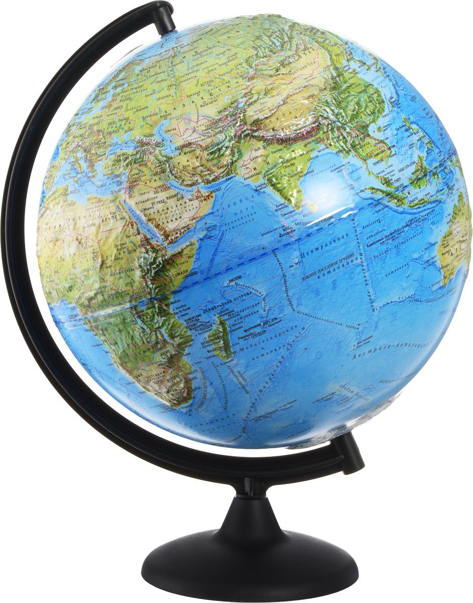 Глобусный мир Глобус ландшафтный рельефный диаметр 32 см10242Ландшафтный глобус Глобусный мир изготовлен из высококачественного и прочного пластика. Данная модель предназначена для ознакомления с особенностями ландшафта нашей планеты. Помимо этого ландшафтный глобус обладает приятной цветовой гаммой. Глобус дает представление о местоположении материков и океанов, на нем можно рассмотреть особенности ландшафта Земли. На данной модели нанесены направления и названия водных течений. Модель имеет рельефную выпуклую поверхность, что, в свою очередь, делает глобус особенно интересным для детей младшего школьного возраста. Изделие расположено на пластиковой подставке. Названия стран на глобусе приведены на русском языке. Настольный ландшафтный глобус Глобусный мир станет оригинальным украшением рабочего стола или вашего кабинета. Это изысканная вещь для стильного интерьера, которая станет прекрасным подарком для современного преуспевающего человека, следующего последним тенденциям моды и стремящегося к элегантности и комфорту в каждой детали....
