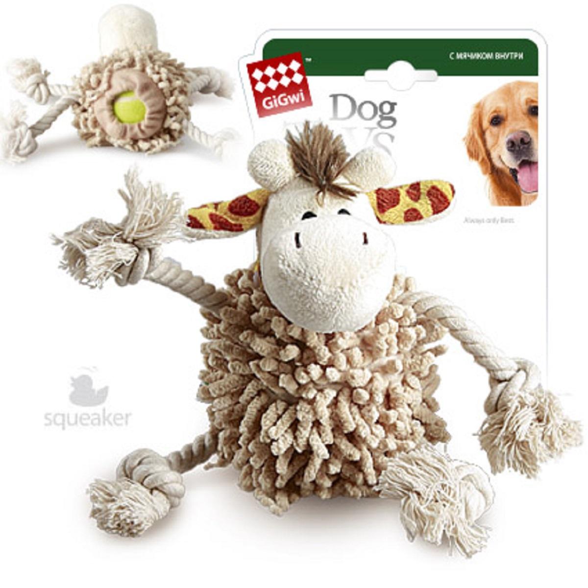 """Игрушка для собак GiGwi """"Жираф"""", с теннисным мячом, длина 20 см 75072"""