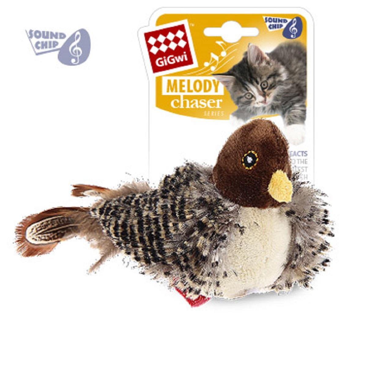 Игрушка для кошек GiGwi Птичка со звуковым чипом75306Птичка с музыкальным чипом. При касании лапами игрушка издает звуки похожие на чириканье птиц. Размер 13 см. Искусственный мех.