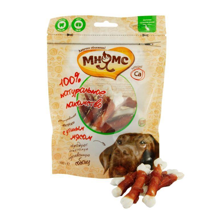 Лакомство для собак Мнямс кальцинированные косточки с утиным мясом 100 г 701795