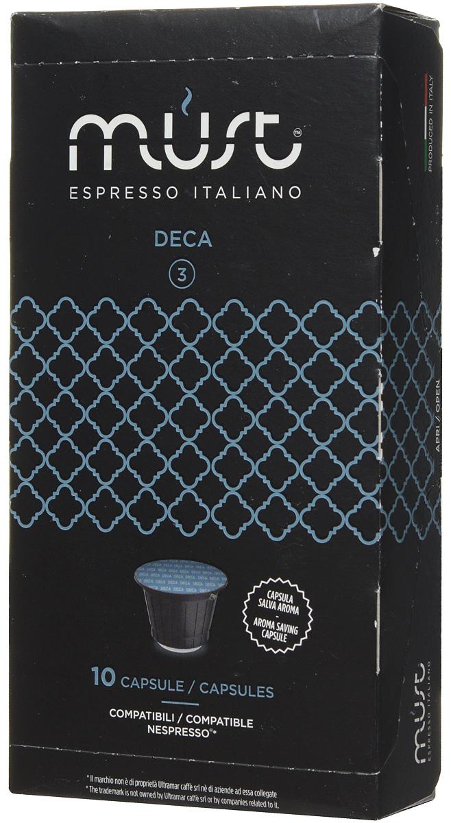 MUST Deca кофе капсульный, 10 шт8056370761067MUST Deca - это деликатная и приятная смесь, обладающая нежнейшим вкусом и великолепным ароматом. Не содержит кофеина. Кофе Deca является примером итальянского качества и мастерства обжарки кофейных зерен. Молотый кофе прессуется по новейшим инновационным технологиям, позволяющим сохранить восхитительный кофейный вкус.