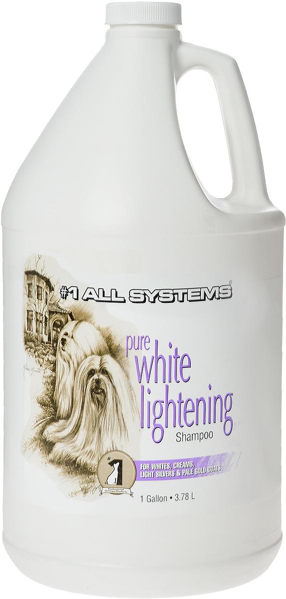 Шампунь для собак и кошек 1 All Systems Pure White Lightening, осветляющий, 3,78 л0120710Уникальный осветляющий шампунь для кошек и собак 1 All Systems Pure White Lightening прекрасно подойдет для белой, кремовой, серебристой и бледно-золотистой шерсти. Шампунь, изготовленный из высокотехнологичных, пятновыводящих ферментных чистящих агентов и кондиционеров, увлажняет шерсть и делает ее ярче. Бережно осветляет и удаляет пятна.Может быть разведен водой (1:5). Для максимального эффекта удаления пятен шампунь необходимо оставить на шерсти в течение 3-5 минут или использовать неразведенным. Чем дольше шампунь остается на шерсти, тем сильнее эффект осветления волоса.Рекомендации для кошек: Рекомендуется применять для идеального отбеливания при подготовке к выставкам белых кошек, а также для тонирования окрасов светлых кошек. Состав: дистиллированная вода, актил додецил меристат, смягчающий глицерин, лаурил сульфат натрия, кокамидапробил бетаин, кокамидопробил аминоксид, метилхлоридотиазолинон (и) метилтеазолин, PEG 150, освежитель.