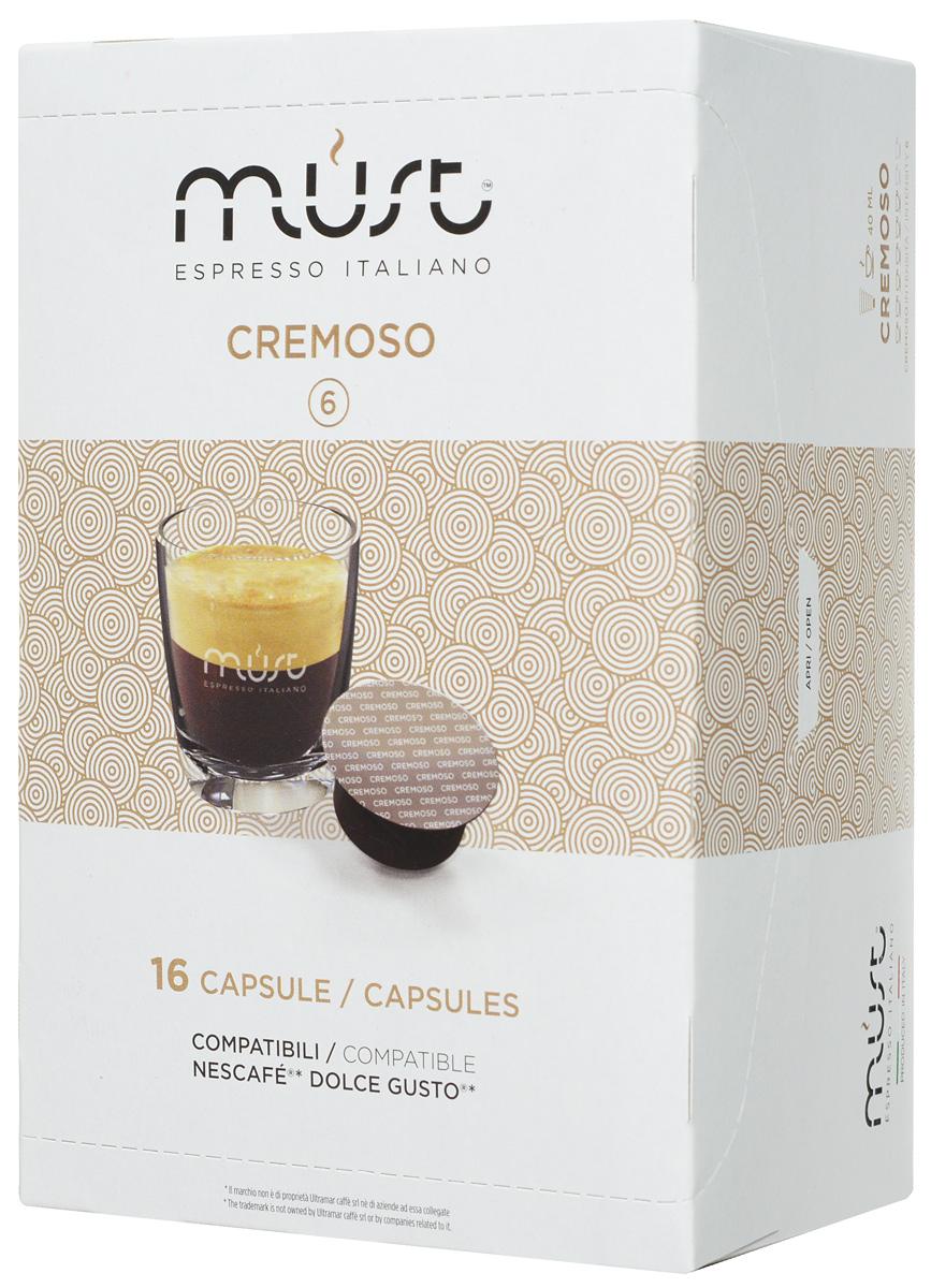MUST DG Cremoso кофе капсульный, 16 шт8056370761326MUST DG Cremoso - купаж с мягким, стойким и обволакивающим ароматом. Этот кофе порадует вас и ваших близких своим многослойным вкусом со сливочными нотками, ненавязчивой горчинкой какао и ореховым ароматом. В напитке раскрываются также кисло-сладкие ноты.