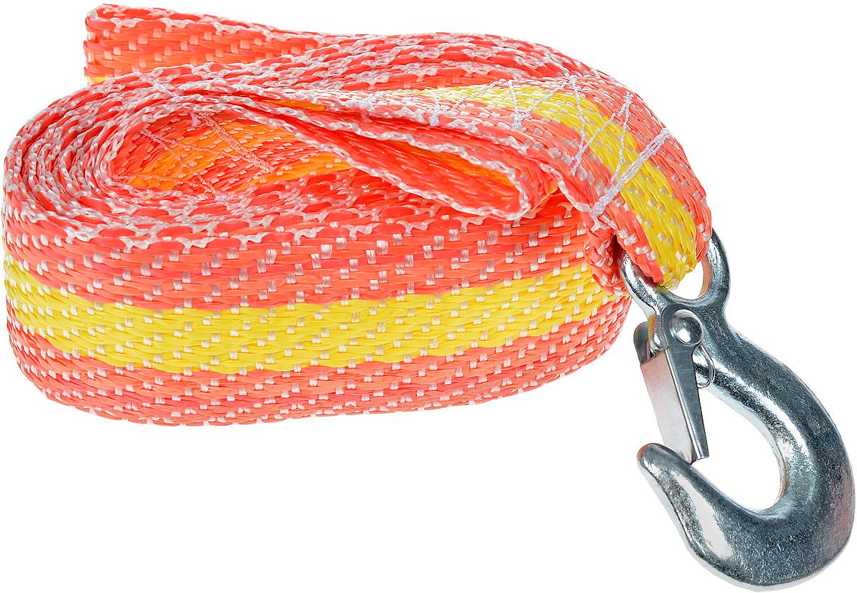 Трос буксировочный Phantom, с крюками, цвет: желтый, оранжевый, 2,5 т. 50065006_желтый_оранжевый 5006_желтый_оранжевый 5006_желтый_оранжевый 5006_желтый_оранжевыйБуксировочный трос Phantom представляет собой высококачественную масло-бензостойкую синтетическую ленту со светоотражающим покрытием, оснащенную прочными стальными крюком с фиксаторами. Буксировочный трос обязательно должен быть в каждом автомобиле. Он необходим на случай аварийной ситуации или если ваш автомобиль застрял на бездорожье. Материал: сталь, полиолефиновая нить, полиэфирная нить, флуоресцентный краситель. Длина: 4 м. Максимальная нагрузка: 2,5 т. Разрывная нагрузка: 1,25 т.