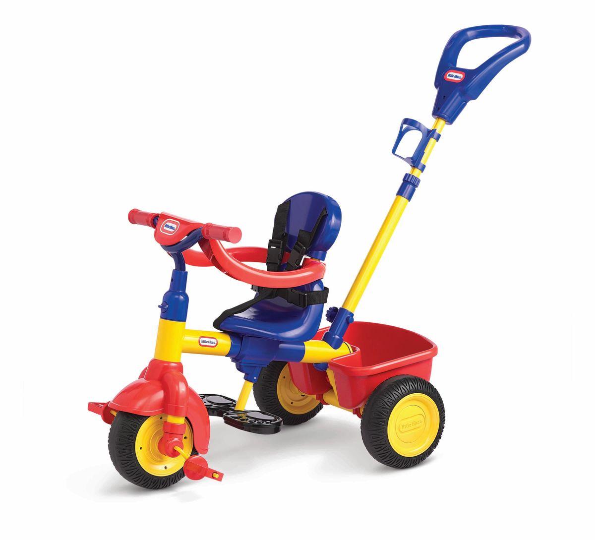 Little Tikes Велосипед детский627354Удобное сиденье, 3 положения, открепляющаяся спинка, ремни безопасности, ограничитель (в дополнение к ремням безопасности, для 1-го этапа), держатель для бутылочки, корзина сзади, тент от солнца. Колёса из прорезиненного пластика. Прекрасный яркий велосипед для малышей от 9 до 36 месяцев. Максимальный вес ребенка – 23 кг.