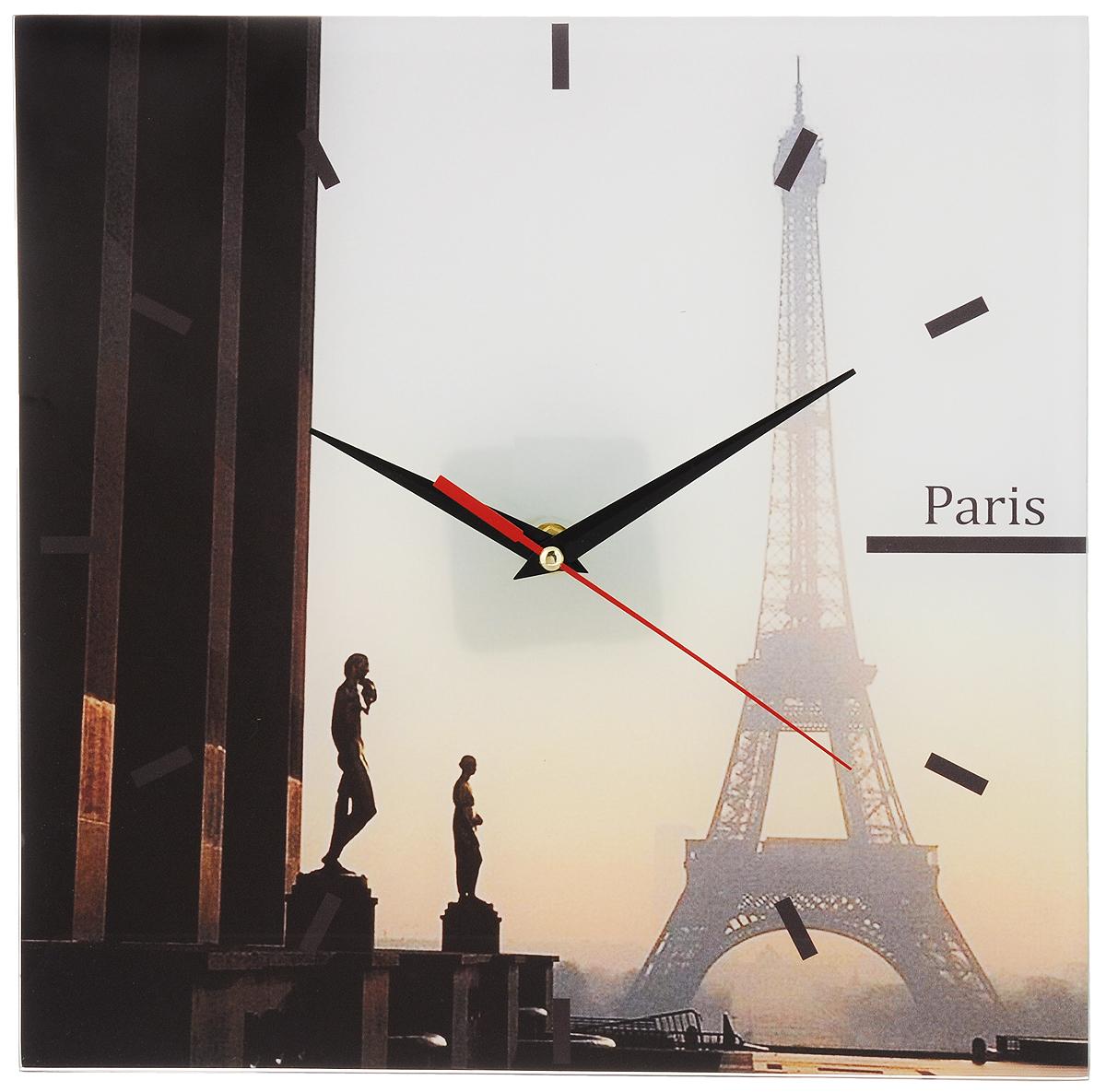Часы настенные Paris, стеклянные, цвет: мульти. 9530195301Оригинальные настенные часы Paris выполнены из стекла и оформлены изображением Парижа. Часы имеют три стрелки - часовую, минутную и секундную. Циферблат часов не защищен. Необычное дизайнерское решение и качество исполнения придутся по вкусу каждому. Оформите совой дом таким интерьерным аксессуаром или преподнесите его в качестве презента друзьям, и они оценят ваш оригинальный вкус и неординарность подарка. Характеристики: Материал: пластик, стекло. Размер: 28 см x 28 см x 2 см. Размер упаковки: 30 см х 30 см х 4,5 см. Артикул: 95301. Работают от батарейки типа АА (в комплект не входит).