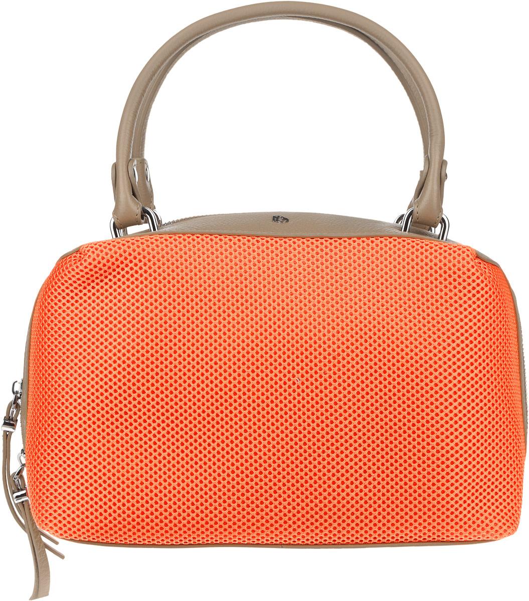 Сумка женская Pimo Betti, цвет: оранжевый, темно-бежевый. 14674B1-W13-47670-00504Оригинальная женская сумка торговой марки Pimo Betti выполнена из натуральной кожи с зернистой фактурой и текстильных вставок с перфорированной поверхностью. Модель закрывается на металлическую застежку-молнию.Сумка состоит из одного отделения, содержит два нашивных кармана для мелочей и мобильного телефона и врезной карман на пластиковой молнии. На задней стенке предусмотрен небольшой прорезной карман на молнии. Изделие оснащено удобными ручками. Дно сумки дополнено металлическими ножками, которые защищают изделие от повреждений. Сумка декорирована металлическими элементами с символикой логотипа бренда.Прилагается фирменный текстильный чехол для хранения.Оригинальный аксессуар позволит вам завершить образ и всегда быть в центре внимания.