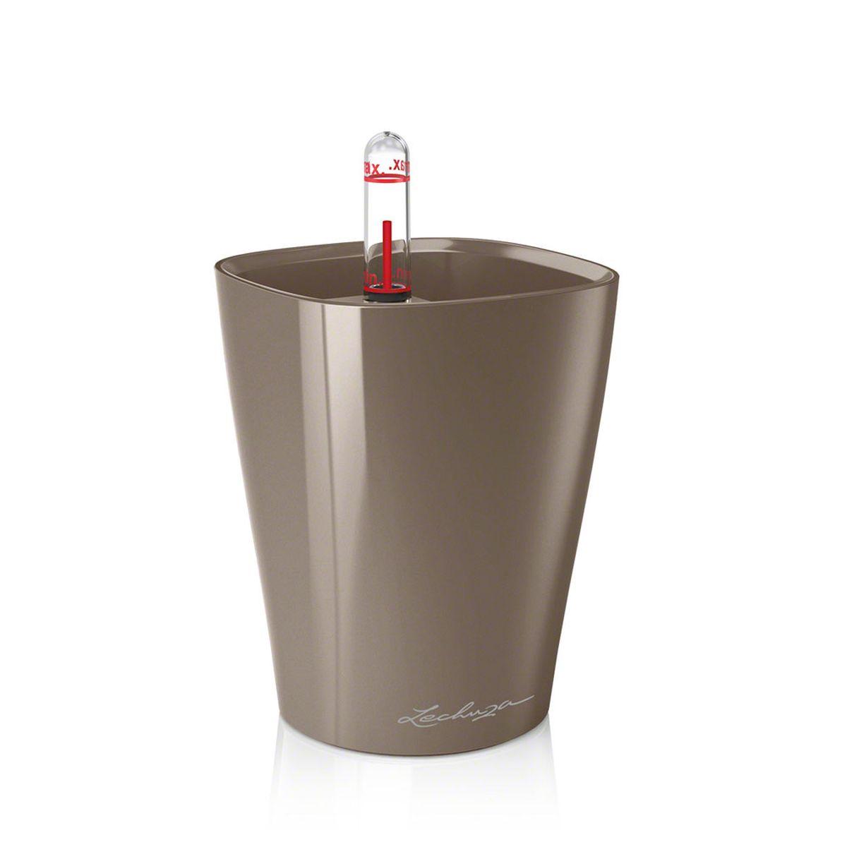 "Кашпо Lechuza ""Mini Deltini"", с системой автополива, цвет: серо-коричневый, 10 х 10 х 13 см 14959"