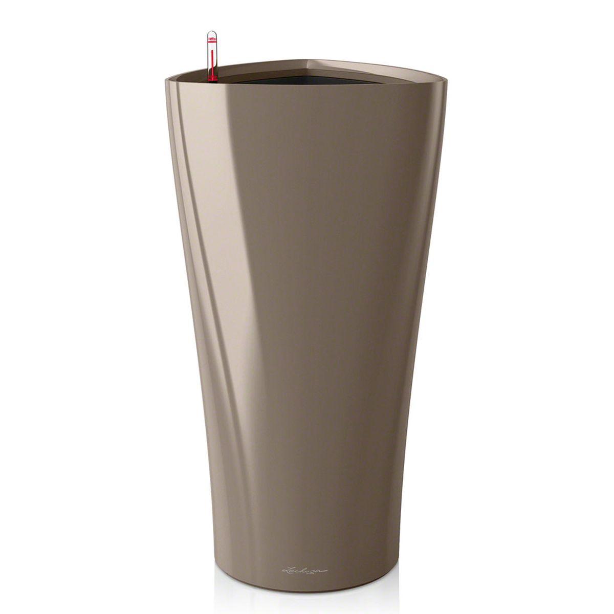 """Кашпо Lechuza """"Delta"""", с системой автополива, цвет: серо-коричневый, 40 х 40 х 75 см 15544"""