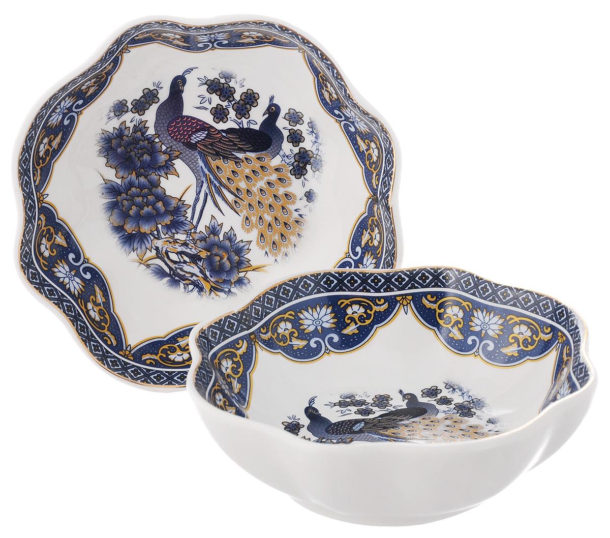 Розетка для варенья Elan Gallery Синий павлин, 100 мл, 2 шт730466Розетки для варенья Elan Gallery Синий павлин изготовлены из высококачественной керамики и украшены ярким изображением. Изделия отлично подойдут для подачи на стол меда или варенья. Такие розетки украсят ваш праздничный или обеденный стол, а яркое оформление понравится любой хозяйке. Диаметр (по верхнему краю): 10 см. Высота: 3,2 см. Объем: 100 мл.