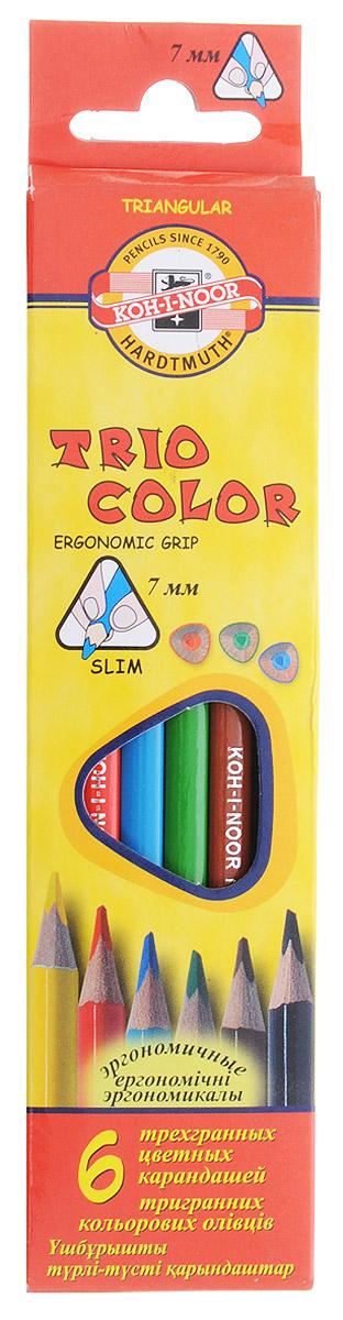 Koh-i-Noor Цветные карандаши Triocolor 6 цветов72523WDЦветные карандаши Triocolor откроют юным художникам новые горизонты для творчества. Трехгранная форма корпуса позволяет снизить усталость при рисовании и письме, развивает мелкую моторику пальцев, что особенно важно для детей младшего школьного возраста. Карандаши имеют прочный неломающийся грифель, не требующий сильного нажатия. Карандаши легко затачиваются. Комплект включает 6 карандашей ярких насыщенных цветов - красного, желтого, синего, зеленого, коричневого и черного. Карандаши уже заточены, поэтому все, что нужно для рисования - это взять чистый лист бумаги и можно начинать!