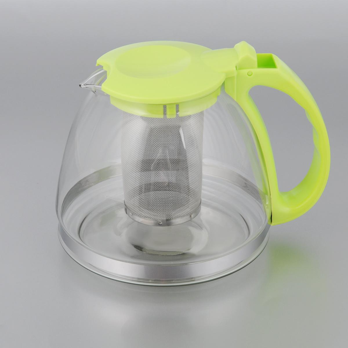 Чайник заварочный МФК-профит, с фильтром, цвет: светло-зеленый, 1,3 л8130-1Заварочный чайник МФК-профит, изготовленный из термостойкого стекла и полипропилена, предоставит вам все необходимые возможности для успешного заваривания чая. Чай в таком чайнике дольше остается горячим, а полезные и ароматические вещества полностью сохраняются в напитке. Чайник оснащен фильтром, который выполнен из нержавеющей стали. Простой и удобный чайник поможет вам приготовить крепкий, ароматный чай. Нельзя мыть в посудомоечной машине. Не использовать в микроволновой печи. Диаметр чайника (по верхнему краю): 7,5 см. Высота чайника (без учета крышки): 13 см. Высота фильтра: 10 см.