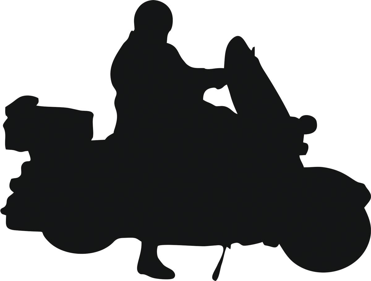 Наклейка автомобильная Оранжевый слоник Мотоциклист 17, виниловая, цвет: черный150MT00017BОригинальная наклейка Оранжевый слоник Мотоциклист 17 изготовлена из высококачественной виниловой пленки, которая выполняет не только декоративную функцию, но и защищает кузов автомобиля от небольших механических повреждений, либо скрывает уже существующие. Виниловые наклейки на автомобиль - это не только красиво, но еще и быстро! Всего за несколько минут вы можете полностью преобразить свой автомобиль, сделать его ярким, необычным, особенным и неповторимым!